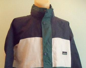 Jacket, Sportswear, Windbreaker, Zipper Lock, unisex, Retro, Vintage, green, blue, white, Size XLarge