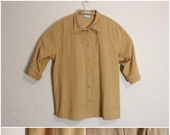 Vintage 80s Corduroy Blouse XL Size Womens 1/2 Sleeve Soft Corduroy Snap Western Button Up