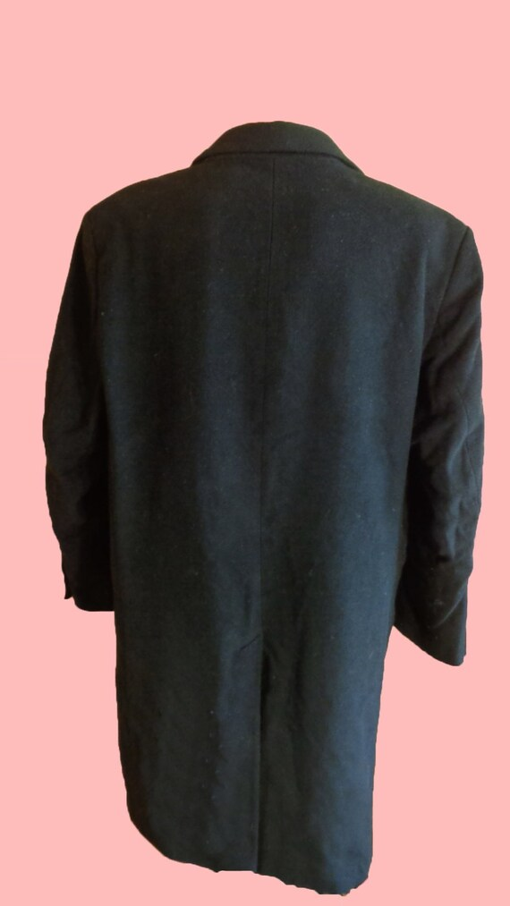 Wool Coat Vintage 80s Black Wool Coat Men Top Coa… - image 4