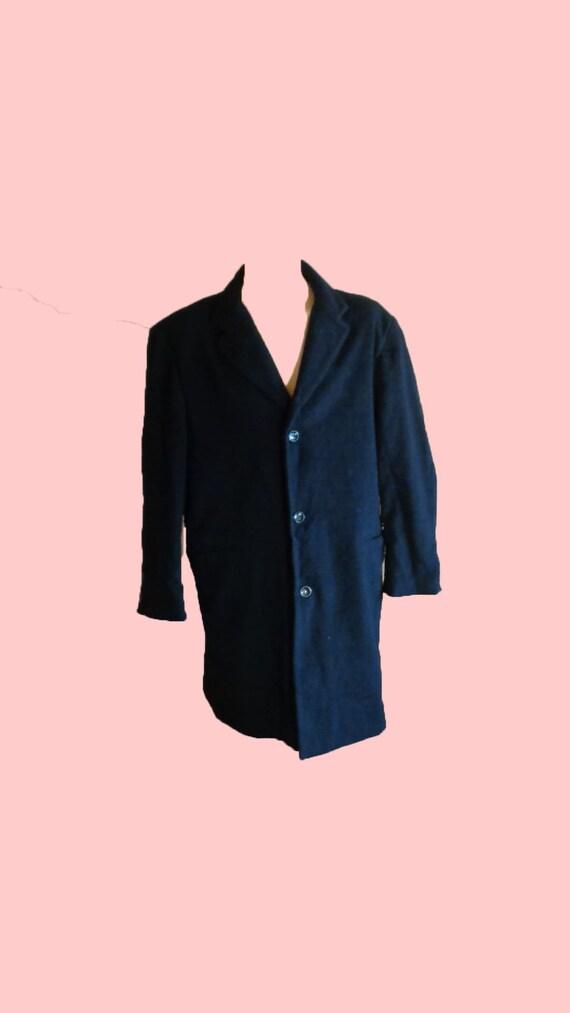 Wool Coat Vintage 80s Black Wool Coat Men Top Coat