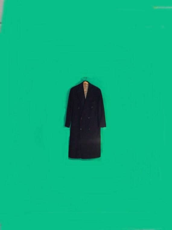 Wool Coat Vintage 90s Black Wool Coat Men Top Coat