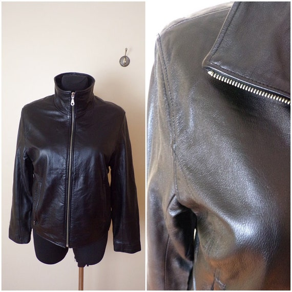 leather biker jacket women soft Leather Black jack