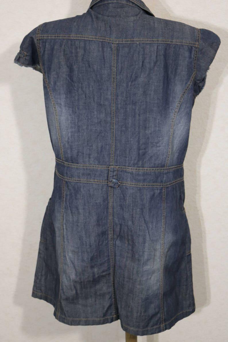Women Denim Blue Dress Short Sleeve Metal Buttons Size Large