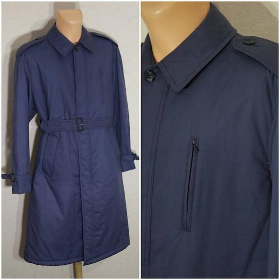 Men Trench Coat Vintage Navy Blue Coat Long Jacket