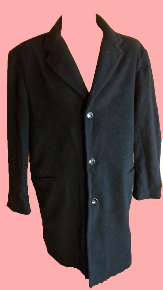 Wool Coat Vintage 80s Black Wool Coat Men Top Coa… - image 2