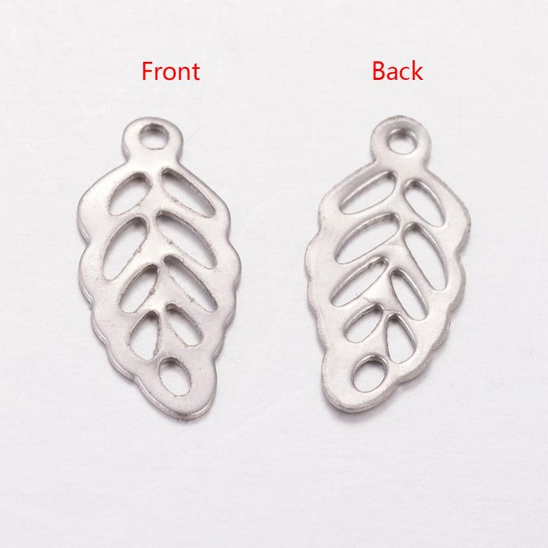 Hole 1mm Small light weight Jewelry Making Supplies Jewelry Findings  13x6mm Stainless Steel Leaf Charms