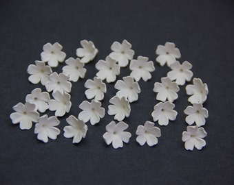 10 Floral beads, WHITE, PEARL EFFECT Diy-kit Flowers polymer clay beads jewelry, white color flowers, Floral beads, pearl flowers, 9-10mm