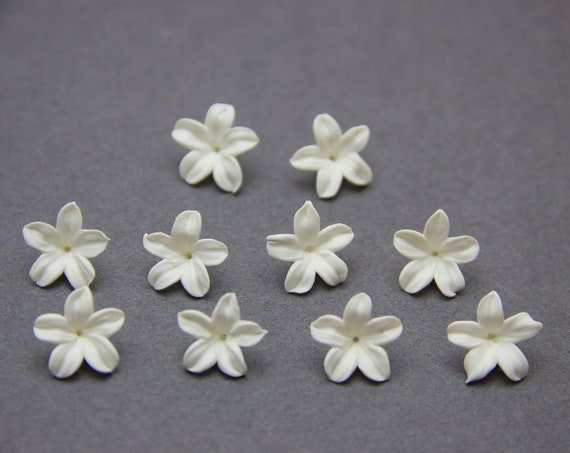 10 pcs Pearl lilac flowers beads 10-12mm Floral beads Flowers polymer clay beads jewelry pearl flowers beads 0,4-0,48 Supplies beads