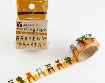 Chairs washi tape, Round Top washi tape, Yano Design Debut Series Natural | Japanese Masking Tape, Cute Craft Supplies