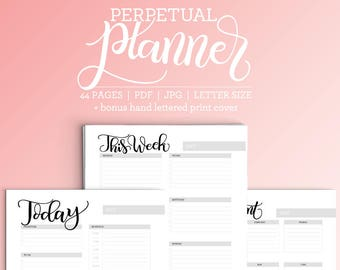 Perpetual planner (44 pages) - Months, days and much more - Letter size