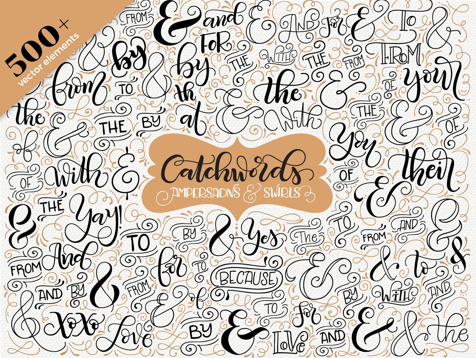 Catchwords, ampersands & swirls - Vector resources invitations - Wedding invitations resources 933d95