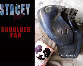 Mad Max ( the road warrior /beyond thunderdome style ) inspired wearable handmade shoulderpad prop for leather jacket