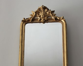 Antique Louis philippe mirror  dated from 1882 - French mirror with pediment