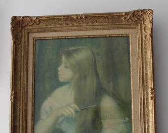 Renoir Painting: Frame and its reproduction of the girl combing, lithograph interlaced by the Spitzer Gallery (Paris)