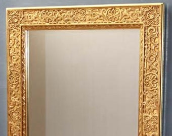 Mirror: wall mirror gold with gold leaves, oriental mirror