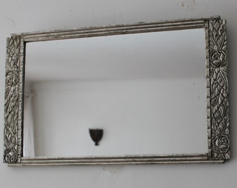 Silver mirror Art Deco style - Small wall mirror with silver leaf