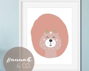 Bear Art Bear Nursery Art Smiling Bear Art Print Bear Print Pink Nursery Print Baby Girl Art Baby Girl Bear Art Girl Nursery Print Bear Rose