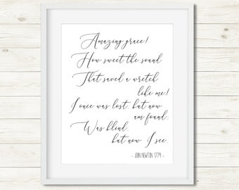 Amazing Grace Wall Art Grace Printable Christian Hymn Decor Instant Download Printable Hymn Christian Song Amazing Grace John Newton Print  sc 1 st  Etsy & Grace wall art | Etsy