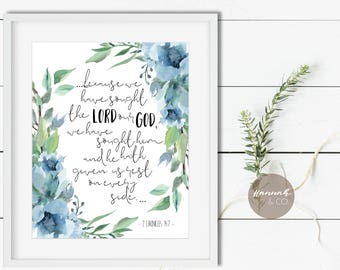 2 Chronicles 14:7 KJV Bible Quote Sought the LORD our God given rest quote Scripture art print Bible quote comfort King James Bible Quote