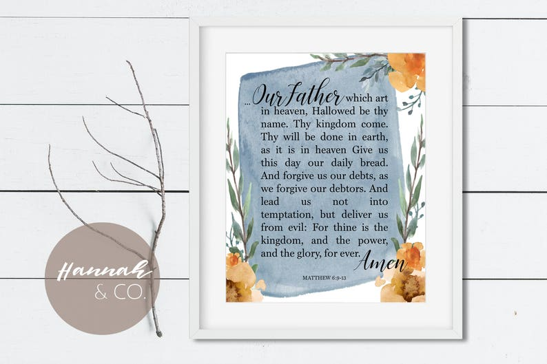 Our Father KJV Bible Verse Lord's Prayer Daily Bread Prayer Art Print  Watercolour Bible Verse Flower Wreath Matthew 6:9-13 Our Father Prayer