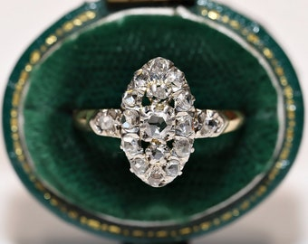 Antique Navette Original Victorian 14k Gold Natural Rose Cut Diamond Decorated Perfect Navette Ring