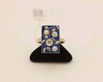 Antique original enamel brilliant  gold   russian decorated  for lady ring