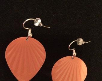 """Metal earrings, painted metal earrings, rust earrings, bird earrings, leaf earrings, light weight earrings, orange earrings, """"spirited ones"""""""