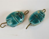 2 small antique Egyptian blue faince scarab beetle beads pendant with Hieroglyphs DQ1