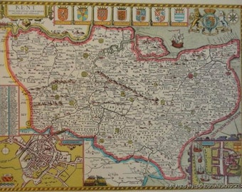 Globes maps vintage etsy uk an old copy of john speed map of kent canterbury rochester town plan 1610 gumiabroncs Images
