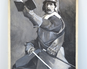 Superb antique water colour painting of English civil war Roundhead signed M Crabtree circa.1910-30