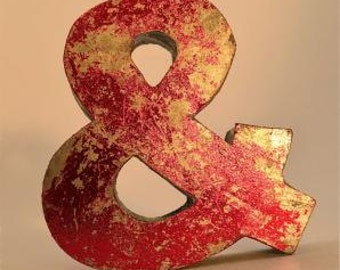 Fantastic retro vintage style red ampersand metal shop sign