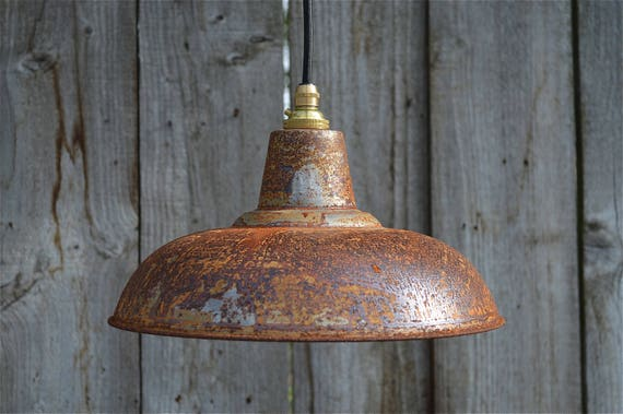 Rusty Barn Pendant Light Industrial Style Workshop Hanging