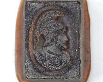 Beautiful original antique amber glass intaglio wax seal cabinet curio Roman God SQ5