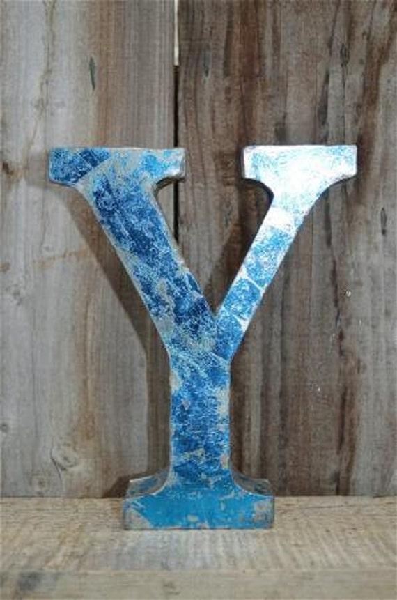 MEDIUM VINTAGE STYLE 3D BLUE /& SHOP SIGN LETTER TIN WALL ART AMPERSAND FONT