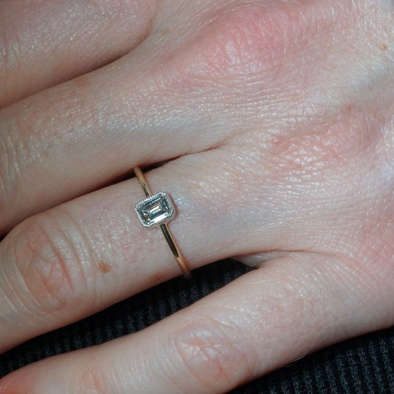 Emerald Cut Diamond Engagement Ring Bezel Setting Thin Etsy
