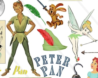 Peter Pan Clipart Neverland Clip Art Digital collage sheet Peter Pan Wendy Neverland Illustration PNG file JPEG files Peter Pan Ephemera
