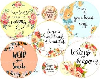 charm bottlecap images Digital Collage Sheet Variety of slide Instant Download Sheet no. O175