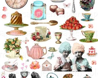 Printable, Journal Kit, Tea Soiree, Junk Journal Kit Tea Ephemera, Victorian, Ephemera Pack, Journal Pages, Tea Party High tea PNG JPEG
