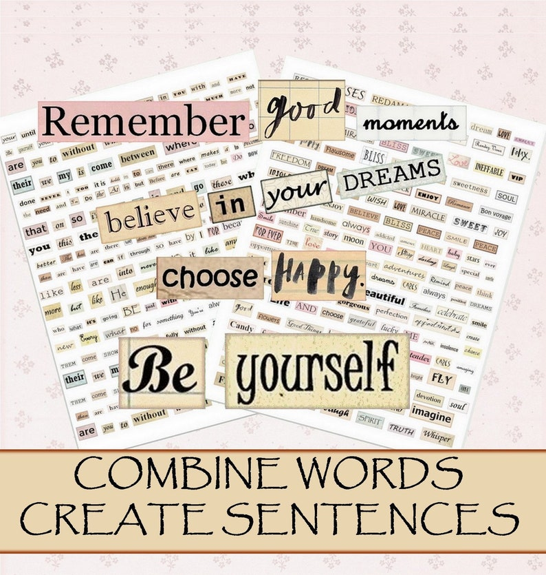 Using Two Quotes In One Sentence: Digital Collage Sheet Words Sentences Phrase Quotes