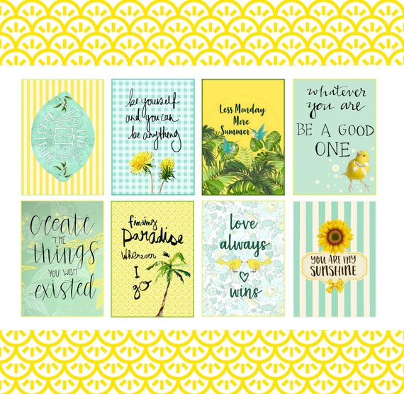 Inspirational and Motivational quotes 2.5x3.5 Digital Collage Sheet ATC  Size, Greeting Cards, Mini Cards, Decoupage Paper, Happy Journal