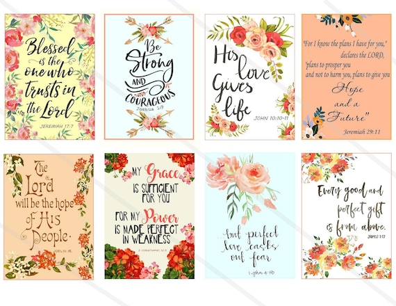 Printable download BIBLE VERSES TAGS No.7 Scripture Art 2.5x3.5 size hang tags digital collage sheet greeting cards Allegradigital images