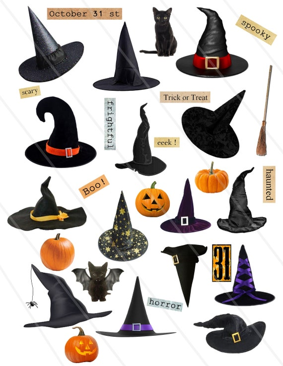 Digital Collage Sheet Halloween Witches Hats Clipart Clip Art Etsy