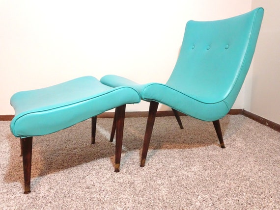 Mid Century Turquoise Scoop Chair With Ottoman Free Shipping | Etsy