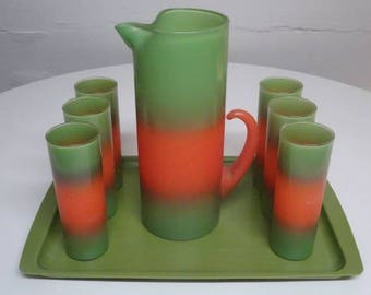Blendo Green & Orange Frosted Glass Pitcher and Tumblers Complete Set With Tray - FREE SHIPPING