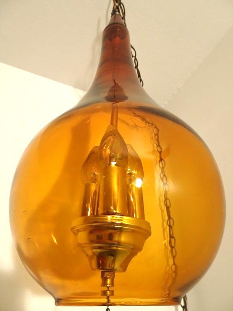 FREE SHIPPING Mid Century Blown Tear Drop Amber Swag Lamp