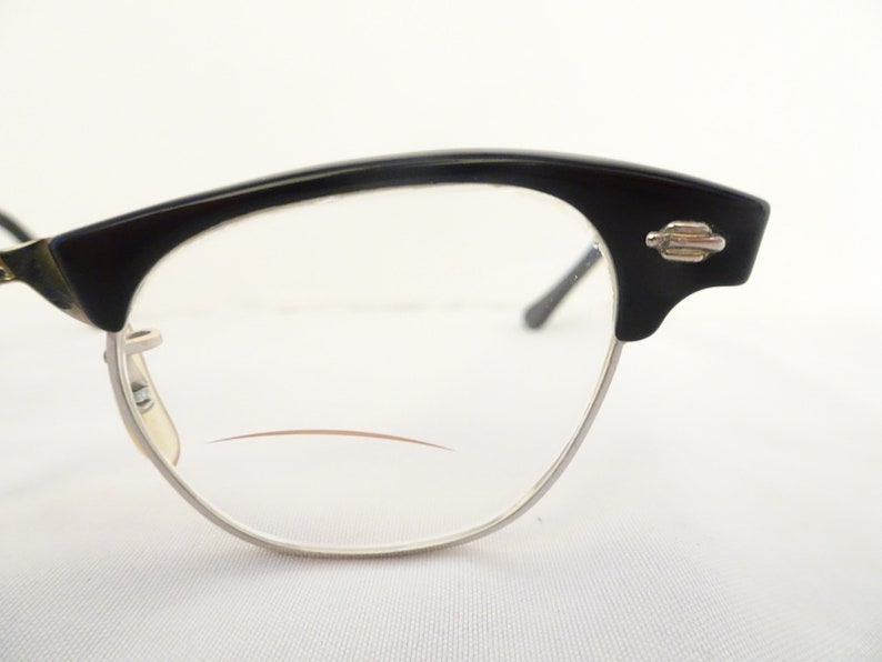 Vintage ArtCraft Black & Silver 1/10 12K GF Cat Eye Eyeglasses - FREE SHIPPING