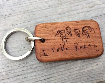 Personalised engraved drawing keyring key chain - customised wooden key ring