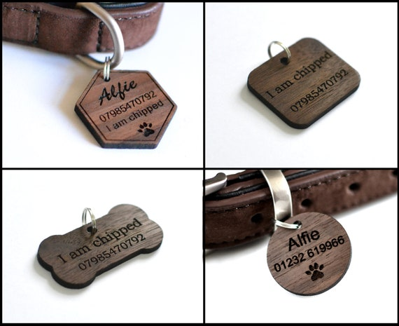 Wooden Tag Dog Cat collar tag Adventure Mountain Forest wooden dog cat Id tag Wood Pet Id tag