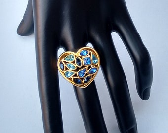 599d29e62e6 YSL Ring. Yves Saint Laurent Vintage Gold Tone Heart Shape Ring with Blue  Crystals. French designer jewellery.