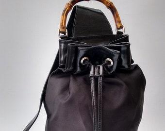 GUCCI Backpack. Gucci Bamboo Vintage Black Backpack   Shoulder Bag. Italian  designer purse. Tom Ford Era. 5aa46a06e6